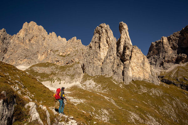 The very quiet Pale di San Martino group with monoliths typical for the Dolomites
