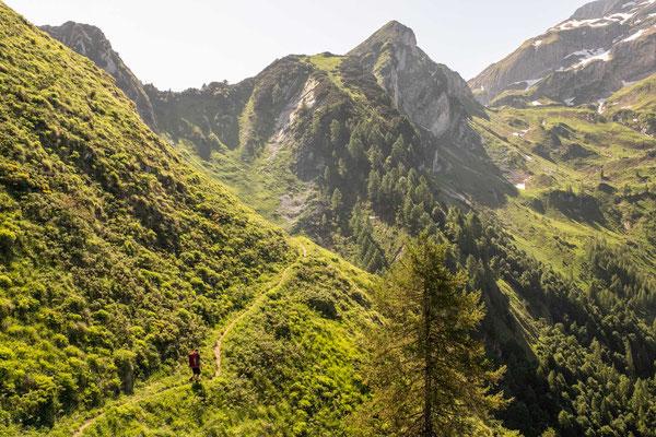 Crossing Vescova valley to rifugio Blanchet on the last day of Alta Via 1
