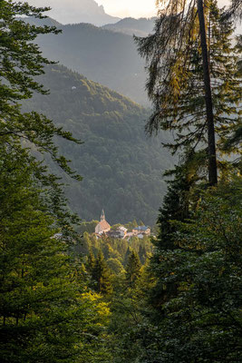 The views on the small chapel in the Gosaldo village as seen from the path no. 801 leading to Passo del Comedon