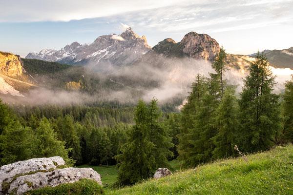 The views of Mount Civetta from rifugio Citta di Fiume