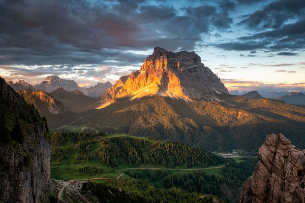 Mount Pelmo at sunset. The view within close proximity to rifugio Coldai