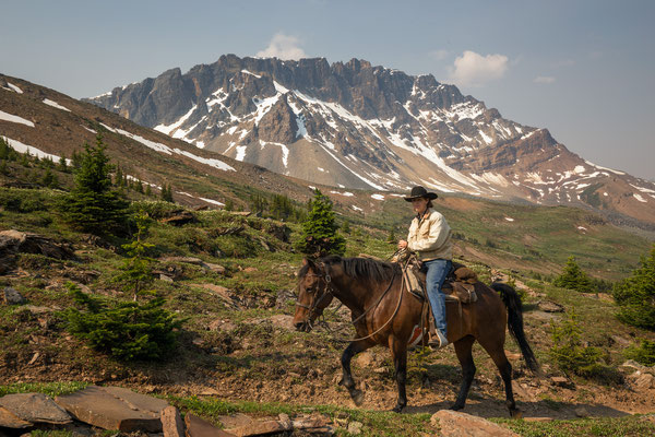 Horse riding through Tonquin Valley is quiet common