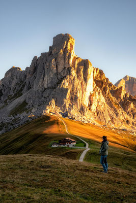Sunrise on Passo Giau with Mount Ra Gusela in the background