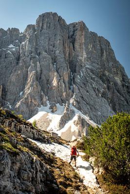 hiking through the snow around Mount Civetta on the 7th day of Alta Via 1