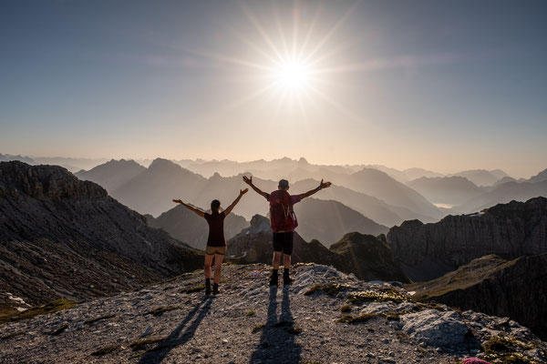 My dad and I celebrating the last day of our joint traverse of Alta Via 1