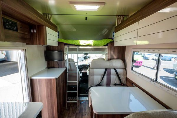 The inside of a 6 berth motorhome