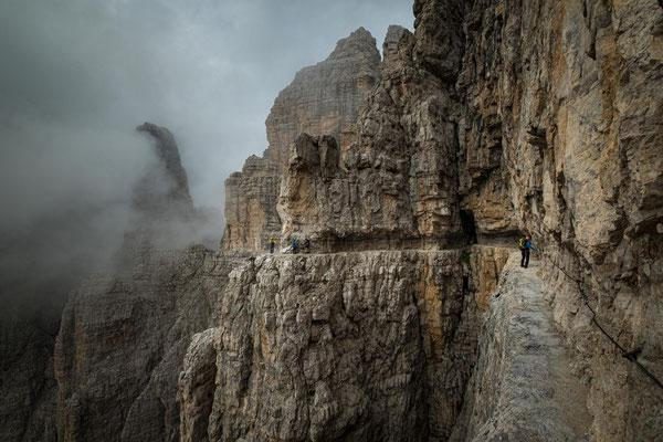 The ledges along the via ferrata delle Bocchette Centrali