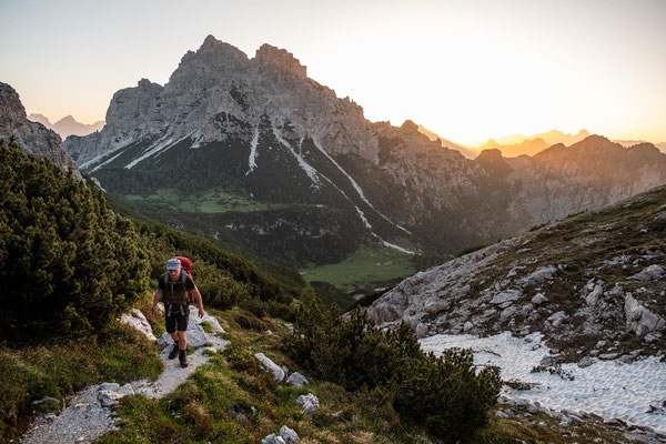 Leaving rifugio Pramperet in the early morning on our last day of Alta Via 1.
