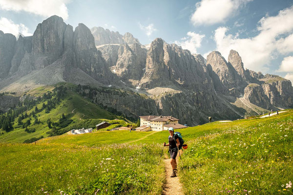 Approaching Passo Gardena with the Sella group in the background.