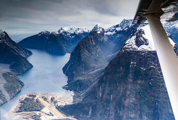 Milford Sound from the air.