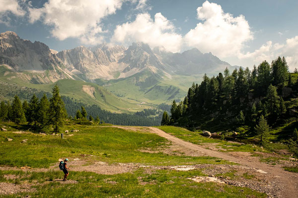 Crossing the ski slopes near Passo San Pellegrino early on on day 7 of Alta Via 2.