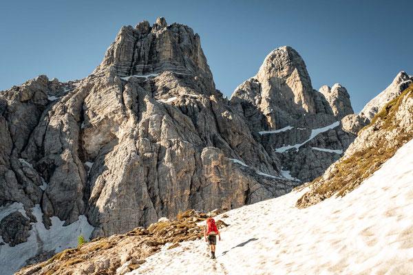 Navigating around Mount Civetta on the 7th day of Alta Via 1