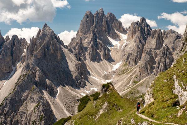 The view over Cadini di Misurina along the way to rifugio Fonda Savio