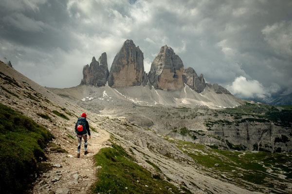 The view of Three Peaks on the approach to rifugio Locatelli