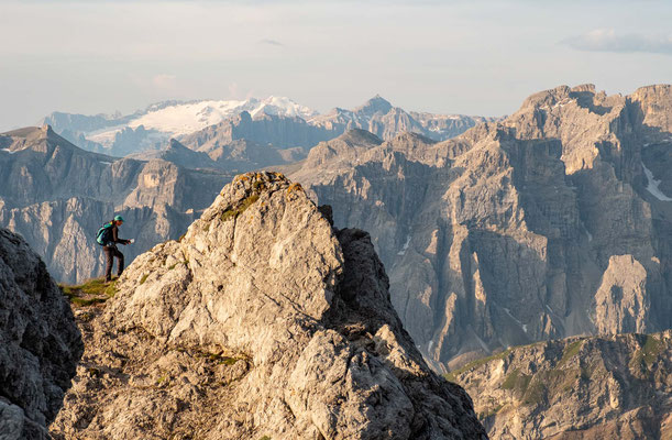 The glacier covered summit of Marmolada the highest Peak in the Dolomites can be observed from the ascent of Sass de Putia