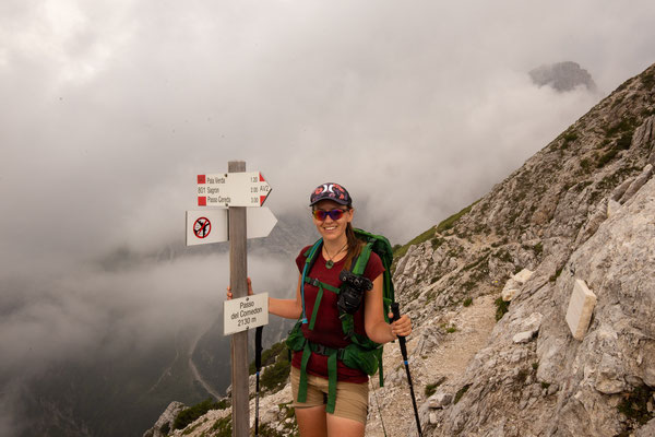 Happy me on the Comedon saddle, the highest point of day 12 which marks the entrance to the Dolomiti Bellunesi National Park