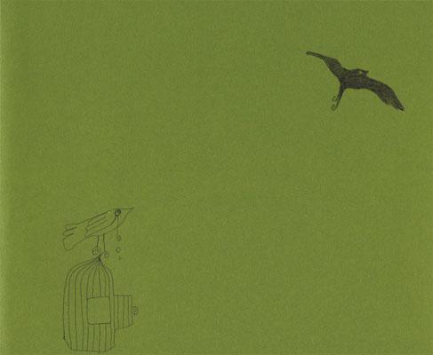 SO FREI WILL ICH MICH FLIEGEN SEHEN / 20 x 16,5 / 2011 / fine art print (kuli auf grünem papier), limitierte auflage von 10 stück