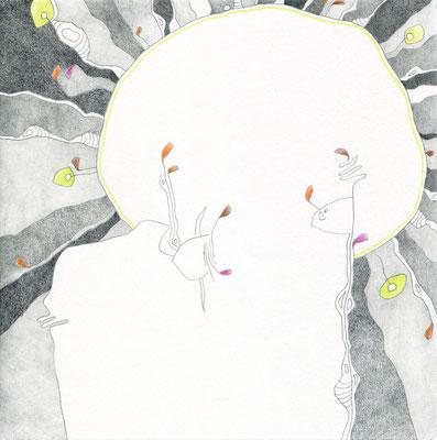 SCHWARZE SONNE / 19,5 x 19,5 cm / bleistift, buntstift auf papier (VERKAUFT)