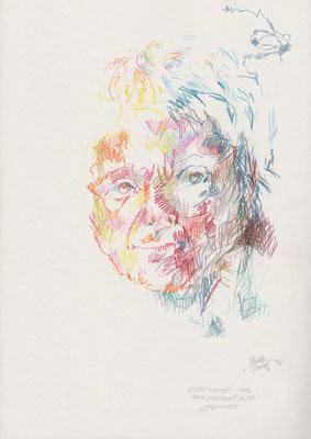 SELBSTPORTRAIT über weite strecken blind gezeichnet / 30 x 42 cm / 2012 / buntstift, bleistift auf papier