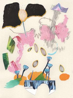 SPRINGSERIES - ich denke an paris / 24 x 32 cm / 2021 / mischtechnik / acryl, tusche, aquarell, bleistift, buntstift, silber-edding, collage auf papier