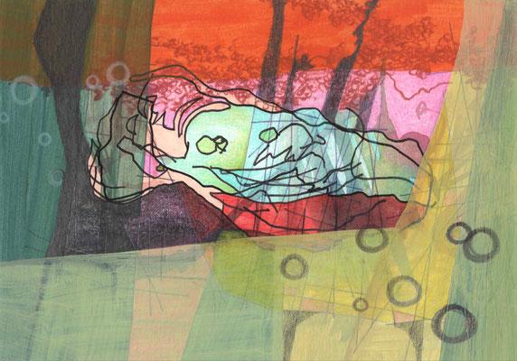 SCHWEINE MÖGEN KEINE MUSCHELN / 21 x 14,8 cm / 2014 / mischtechnik auf papier (VERKAUFT)