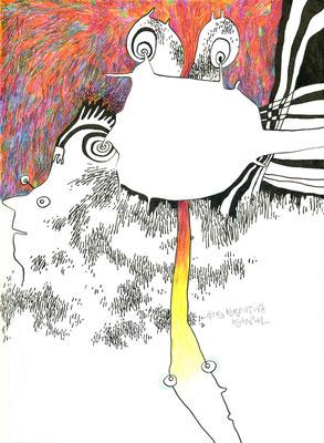 DER KREATIVE KANAL / 21 x 28 cm / 2012 / tusche, buntstift, bleistift auf papier