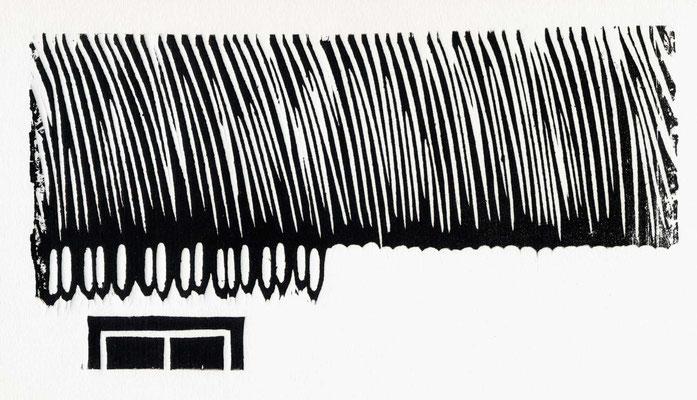 SCHILFDACH / 26 x 15 cm / neumarkt an der raab 2002 / holzschnitt