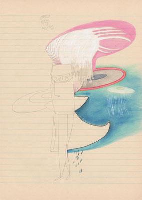 tagesbefindlichkeiten 5 - GROSSE ROBE IM ALL-TAG / 21 x 30 cm / 12.11.2013 / mischtechnik auf liniertem papier