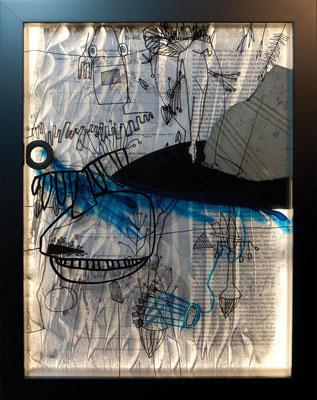 LICHT DER MENSCHHEIT 22 - erdöl, weizen und baumwolle / 30 x 40 x 5 cm / 2018 / mischtechnik auf glas und papier, collage, led-beleuchtung