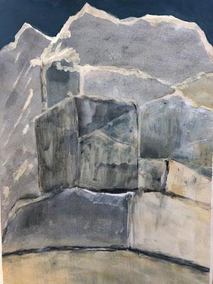 STEINBRUCH / toskana 2019 / acryl auf papier / (c) andrás mádai