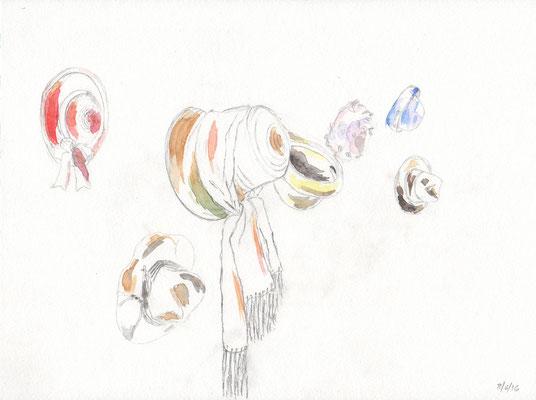 HÜTE / 2016 / bleistift, aquarell auf papier / (c) andrás mádai