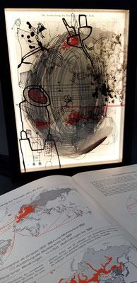 LICHT DER MENSCHHEIT 16 - die ausbreitung der europäer über die erde / 30 x 40 x 5 cm / 2018 / mischtechnik auf glas und papier, collage, led-beleuchtungekümmert