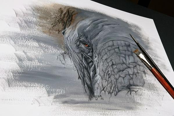2018 E für Elefant - Acryl