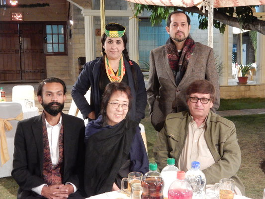 Mr. Bhandara(back right), Saidgul who works at Peshawar Museum(left back), My Kalasha brother, Norrshahidin(front left) , me(center), Mr. NomanShaw