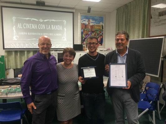 Premiazione per la vincita del concorso Amilcare Ponchielli di Cremona - 2015. Sindaco Mosaner Adalberto, Assessore Renza Bollettin, Mario Lutterotti e Lino Trenti