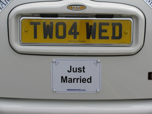 Just Married sign the moment everyone starts to relax