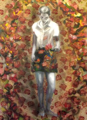 Amanda pflückt, Öl auf Stoff, 180 x 130cm, 2011