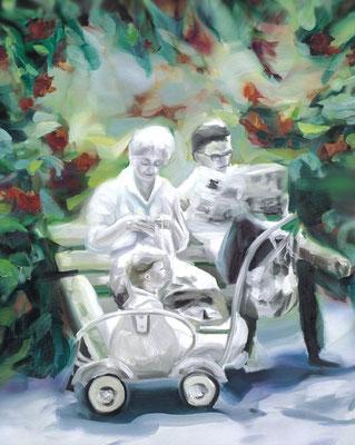 Neulich in Konrad´s Garten, Öl auf Leinwand, 170 x 140cm, 2006