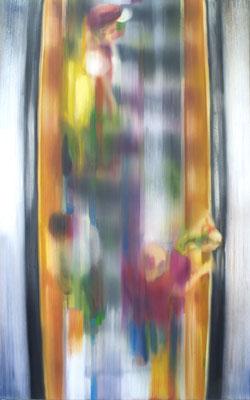 Aufgang orange, Öl auf Leinwand, 180 x 120cm, 2009