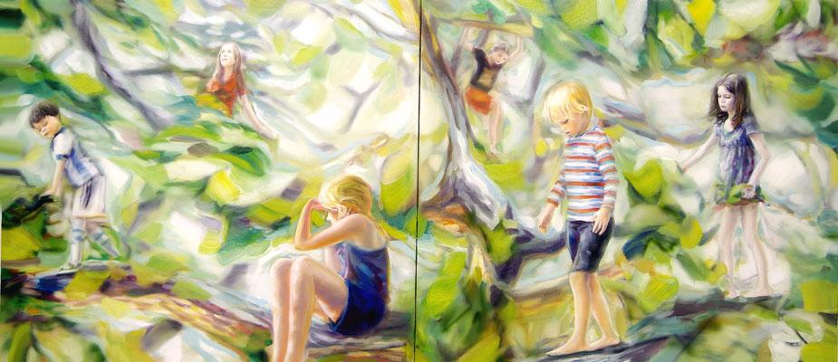 Aufbruch, Öl auf Leinwand, 130 x 300cm (zweiteilig), 2018