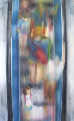 Aufgang blau, Öl auf Leinwand, 180 x 120cm, 2009