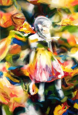 Mondscheinmädchen, Öl auf Stoff, 160 x 110cm, 2016