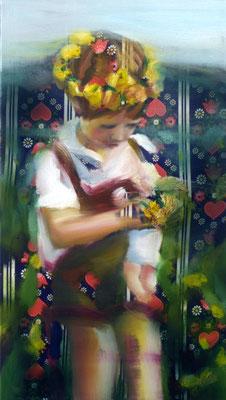 Blumenkind, Öl auf Stoff, 80 x 40cm, 2009