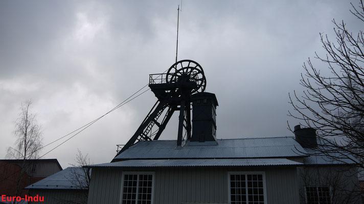 Originales Fördergerüst von 1880. Es ist nach dem Ottiliae Schacht das zweitälteste Stahlstrebengerüst Deutschlands.