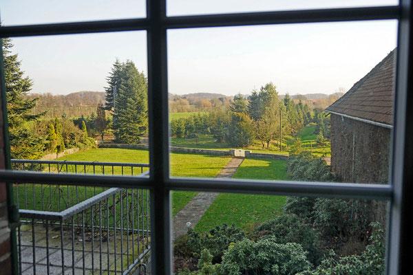 Blick vom Balkon auf den zukünftigen Obstgarten.