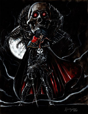 "Albator "" capitan harlock "" : illustration 50x65 technique mixte 2015"