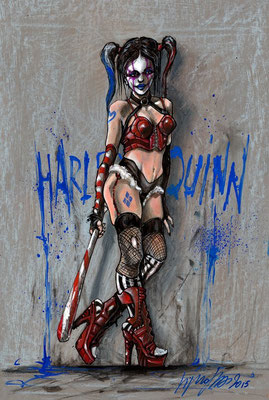 "illustration Harley Quinn 51x34,5 sur papier, technique mixte ""collection privée"""