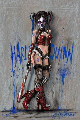 """illustration Harley Quinn 51x34,5 sur papier, technique mixte """"collection privée"""""""