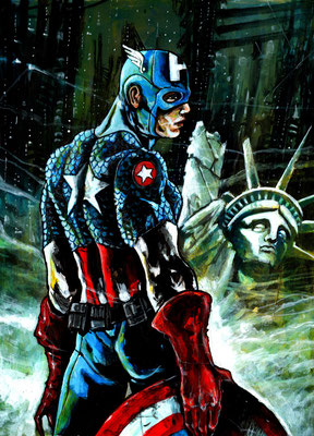 illustration Captain America 44x31 sur papier, technique mixte