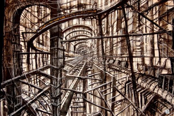 Métal infini 90X70 -2009 - Acrylique, pastel gras, feutre, encre de chine sur papier.